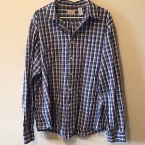 Blue and grey patterned shirt